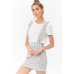 Forever 21 Overall Plaid Suspender Skirt size S